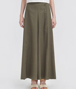 Button Flare Long Wide Pants