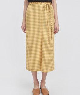 Mild Check Long Wrap Skirt