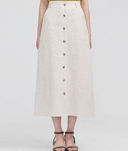 Front Button Linen Long Skirt