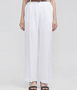 Linen Half-Banding Straight Fit Slacks