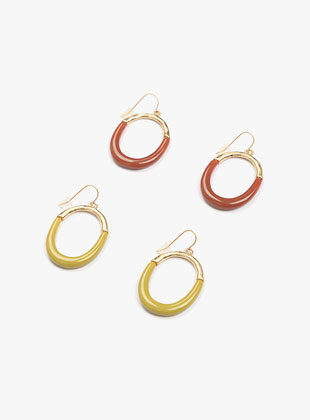 Oval Color Earring